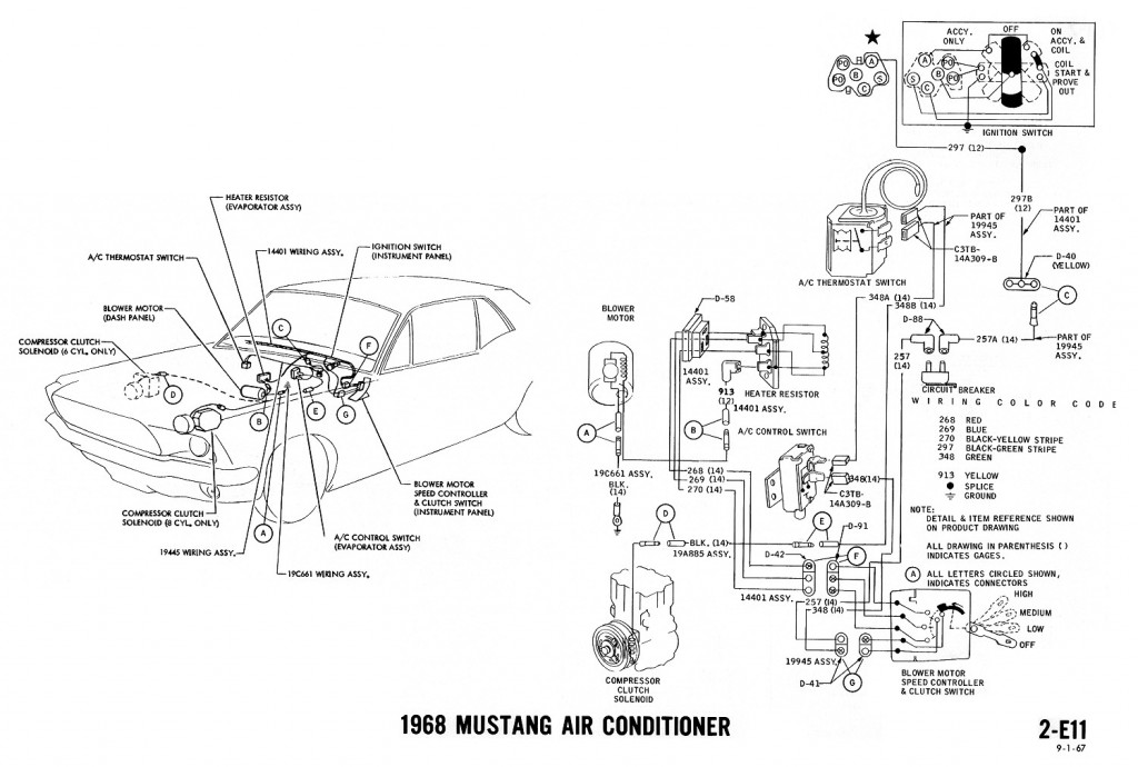 1968 Ford Mustang Ignition Wiring Diagram, 1968, Free