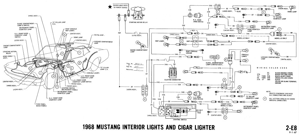 medium resolution of 1968 mustang wiring diagram interior lights cigar lighter