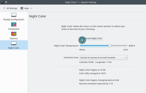 OpenSUSE enabling night color