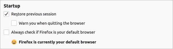 Enabling restore previous session in Firefox