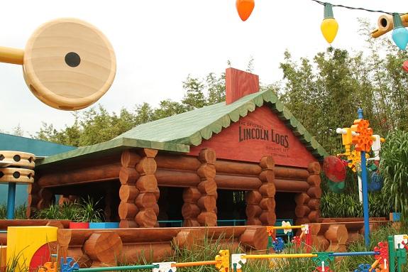Life Sized Lincoln Logs Cabin at Hong Kong Disneyland