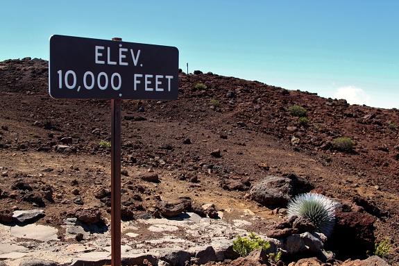 Elevation sign at Haleakala Maui