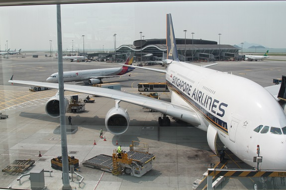 Singapore Airlines A380 at HGK