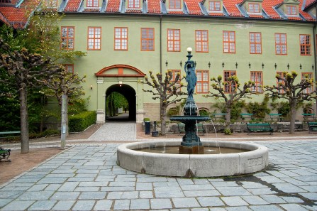 The courtyard of the Norwegian Folk Museum in Oslo