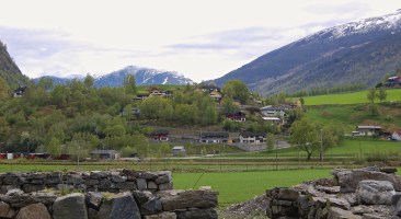 Hillside village in Flåm, Norway