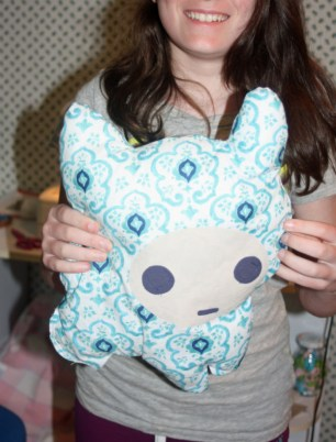 kitty pillow finished 4-H sewing