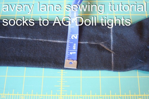 avery lane sewing tutorial socks to AG Doll tights
