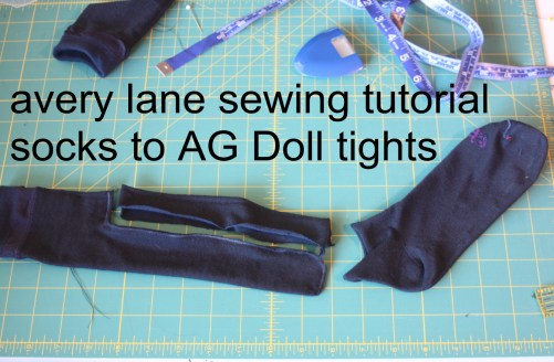 avery lane sewing tutorial socks to AG Doll tights1