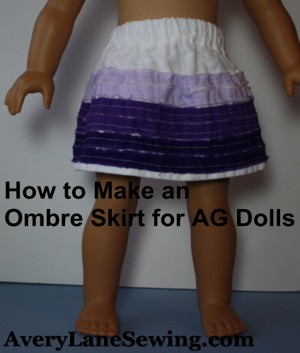 Ombre Skirt Tutorial  for Girls and AG Dolls AveryLaneSewing