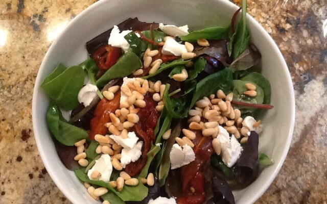 Roasted Red Peppers, Goat Cheese, Toasted Pine Nuts and Spring Mix orArugula