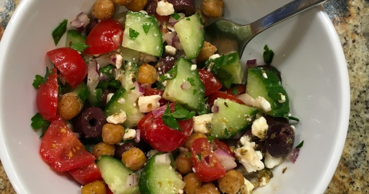 Greek-Style Salad with Crispy Chickpeas from Recipe Runner