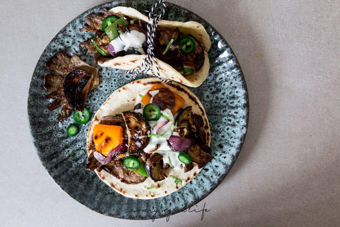 Tacos / Tortillas vom Grill mit Austernpilzen, vegan