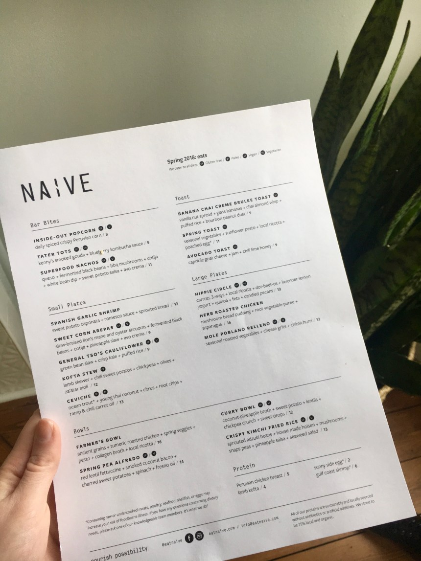 naive restaurant menu
