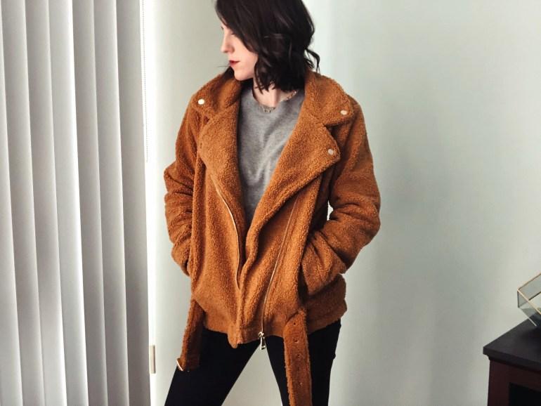 asos brown teddy coat