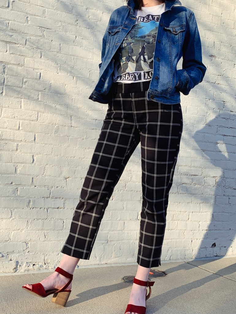 how to style high waisted plaid pants