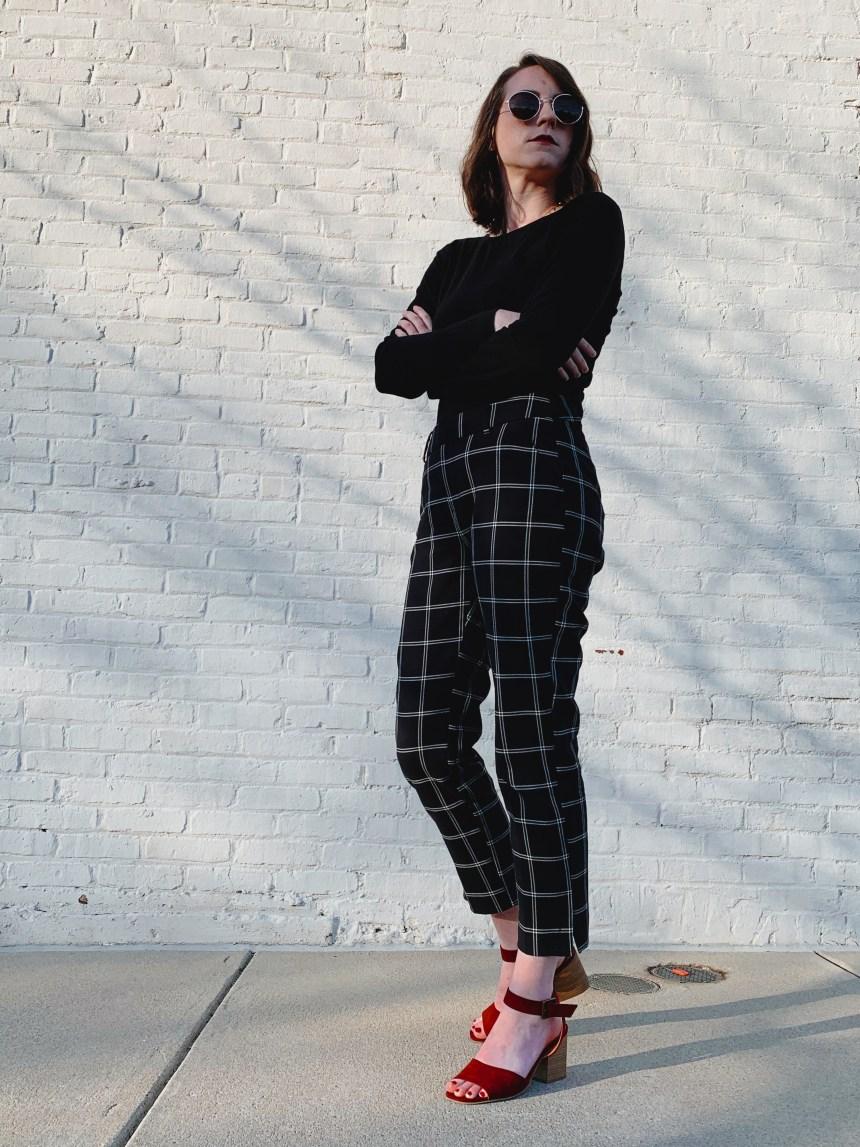 high waisted black plaid pants target