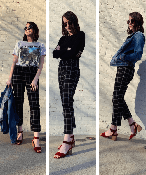 plaid pants styled three ways
