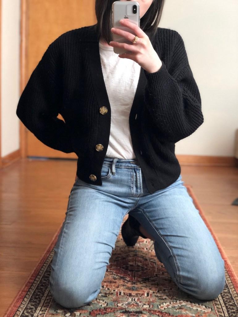 cropped black cardigan oversized