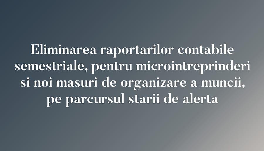 Eliminarea raportarilor contabile semestriale, pentru microintreprinderi si noi masuri de organizare a muncii, pe parcursul starii de alerta