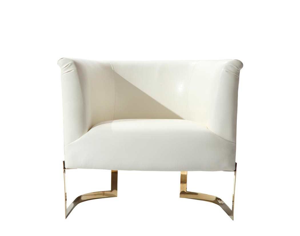 White Modern Chair White Leatherette Accent Chair Arl Ellie Accent Seating