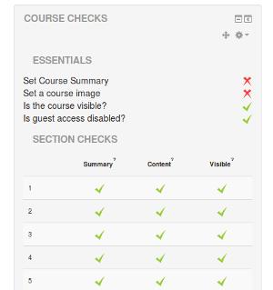 Moodle blok Course Check