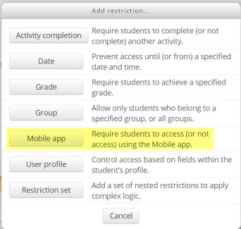 Moodle Mobile voorwaarden