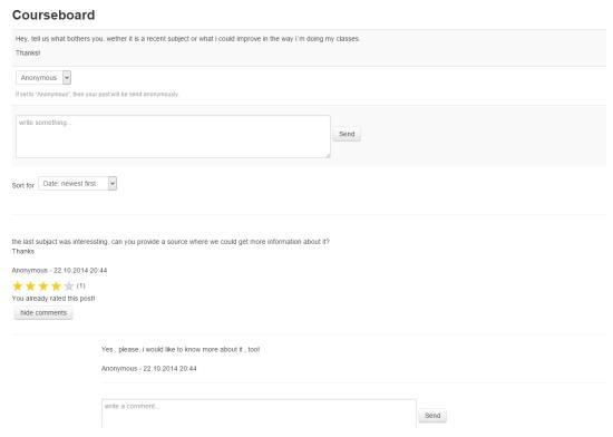 Feedback vragen met Moodle courseboard