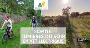 Sortie VTT électrique au départ de Rodez - coucher de soleil - lumières du soir