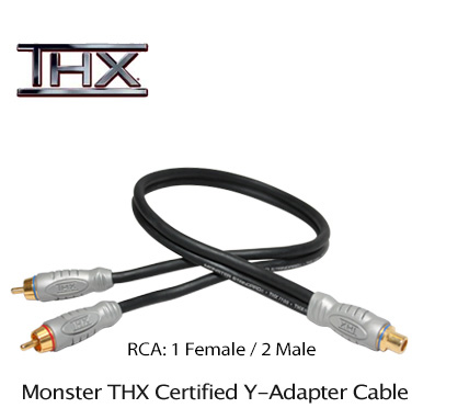 Monster THX Y-Adapter Audio 1 Female to 2 Male RCA Cable
