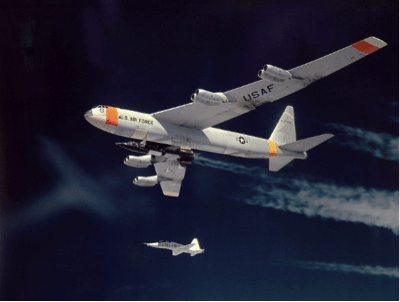 NB-52B, Balls Eight with the X-15 and a T-38 chase plane (Public Domain)