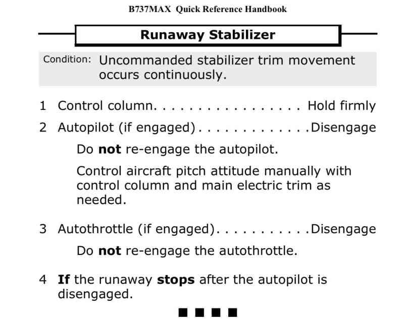 737 MAX Checklist Runaway Trim