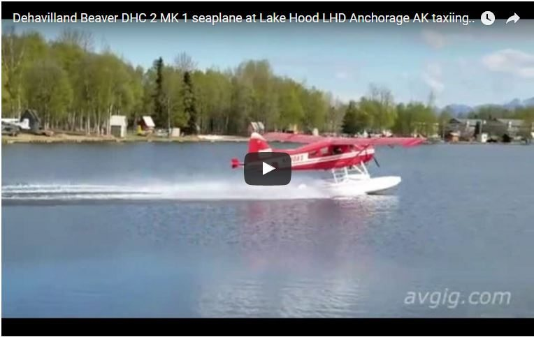 Dehavilland Beaver DHC-2 MK.1 seaplane at Lake Hood (LHD) Anchorage AK taxiing and take off