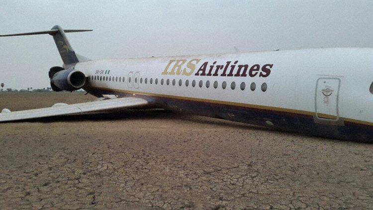 5N-SIK after the emergency landing (Photo: First Officer of the flight JamyL MD Abubakar)
