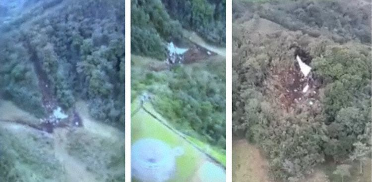 Aerial Images of crash site, right image point of first impact, two left images main wreckage (Photos: Jose Luis Osorio Ortega)