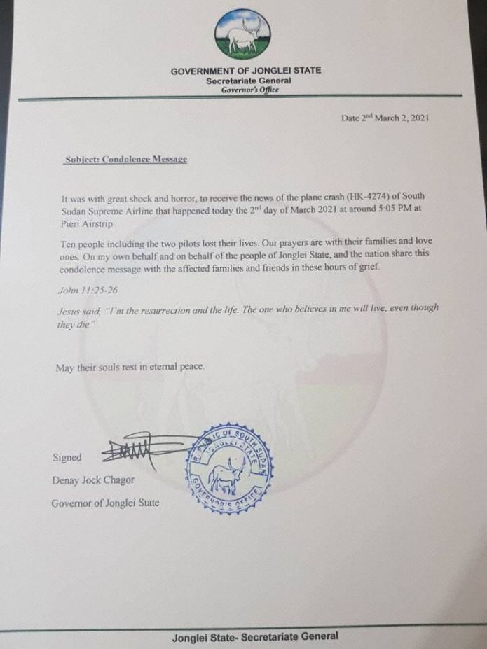 Mensagem de condolências do governador de Jonglei (Carta: Gabinete do governador de Jonglei)