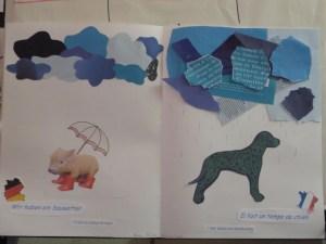 Seite aus dem Wörterbuch der Redewendungen hier: Sauwetter (deutsch) Hundewetter (französisch)