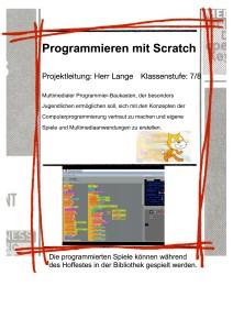 Plakat fuer die AvH Projektwoche Thema Programmieren mit Scratch