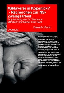 Plakat fuer die AvH Projektwoche Thema Sklaverei in Köpenick