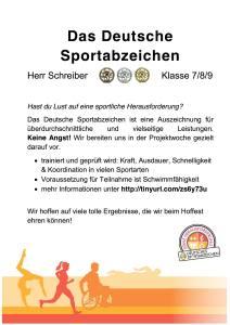 Plakat fuer die AvH Projektwoche Thema Das Deutsche Sportabzeichen
