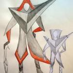 Figurinen schwarz-weiß-rot