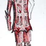 Figurine in schwarz-weiß-rot