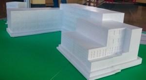 Dieses Modell von unserem Schulgebäude wurde im 3D-Druck erstellt.