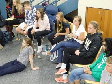 Students listen during a discussion.