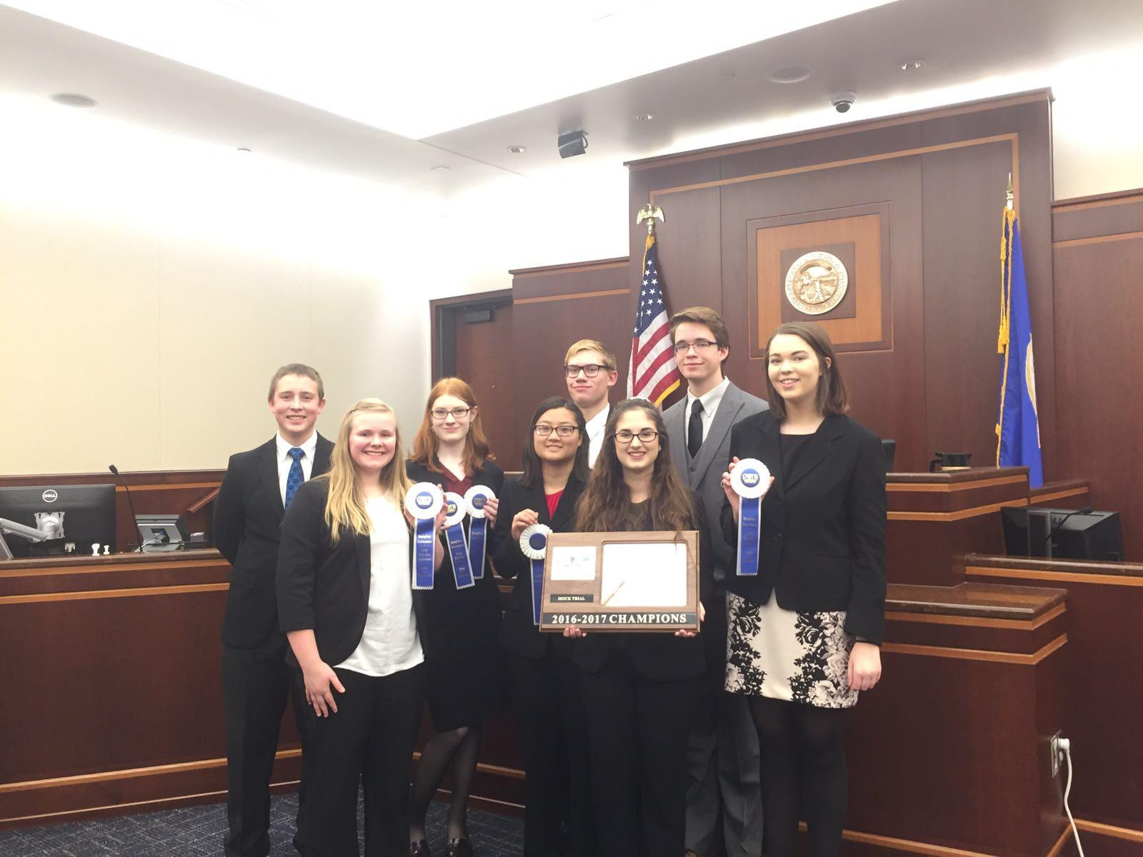 Mock Trial team getting first place in the South Suburban Conference