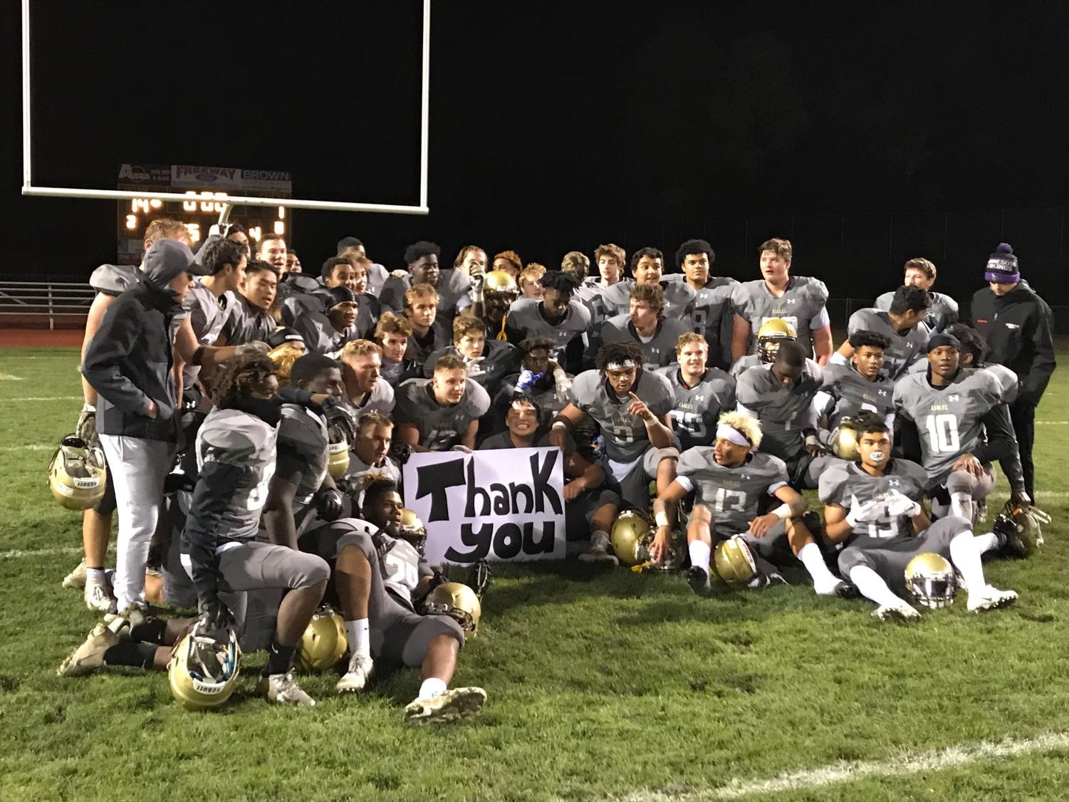 Apple Valley poses after defeating Henry Sibley on Senior Night.