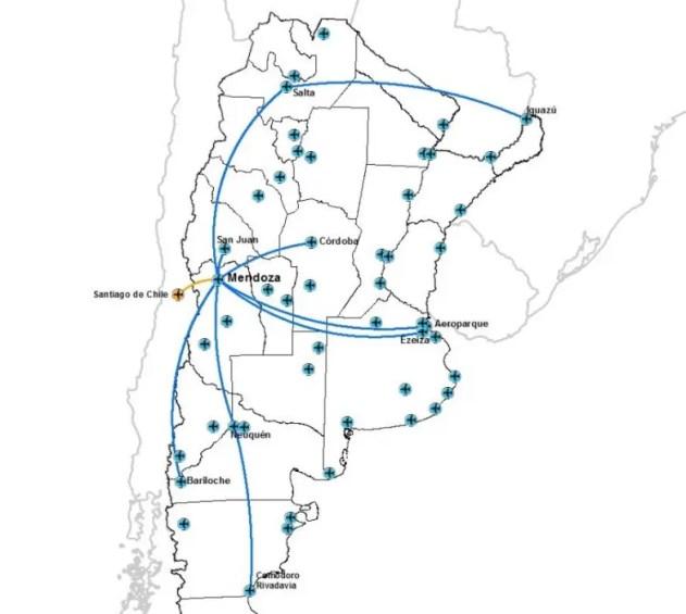 Mapa de rutas desde el aeropuerto de Mendoza, año 2013. Fuente: ORSNA