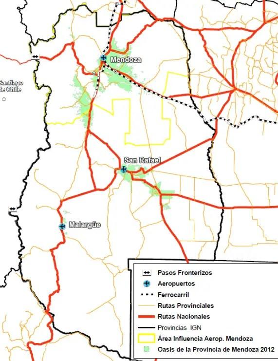 El aeropuerto de Mendoza en el contexto provincial (Elaboración: ORSNA)