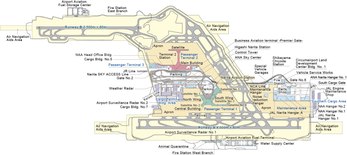 Plano del aeropuerto de Narita (hagan click para verlo en alta resolución)