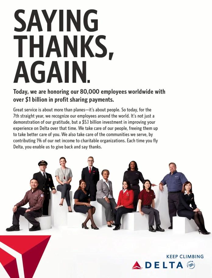 Delta Airlines - publicidad reparto de ganancias