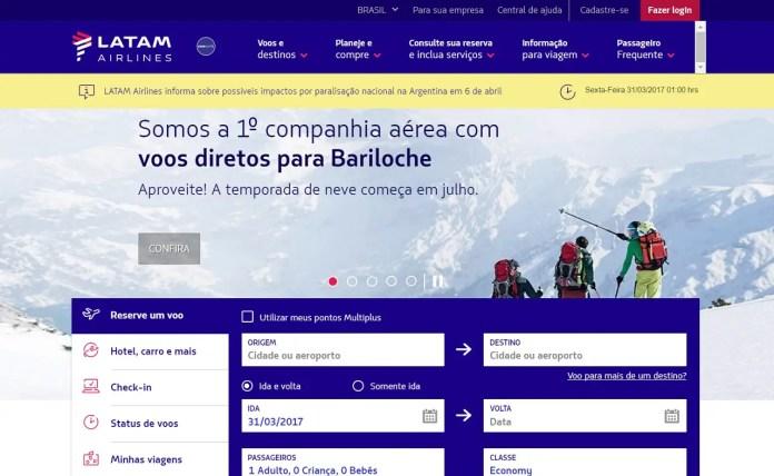 Así promociona LATAM Brasil a Bariloche en su sitio web.